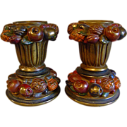 REDUCED Armor Bronze of New York Candleholders with Pomegranates and Pinecones