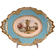 REDUCED Chamberlain Worcester  Lozenge Form Scenic Porcelain Dessert Stand