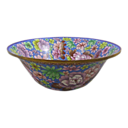 "Large Cloisonne Enamel Bowl Over 15.5"" Diameter"