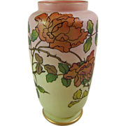 Thomas Webb & Sons Queen's Burmese Ware Patented Vase with English Roses