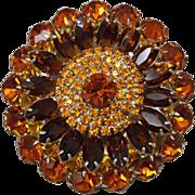 REDUCED Massive Multi-Layer Multi-Color Vintage Jewelry Rhinestone Brooch