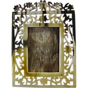 REDUCED Natural Horn Reticulated Carved Photo Frame