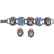 REDUCED Selro Selini Asian Face Demi Parure Pearlized Blue Moonstone Variation