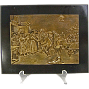 REDUCED Tyrolean Tavern Scene Bronze Plaque