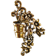 REDUCED Crown Trifari A. Philippe Flower Pot Fur Clip
