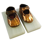 REDUCED Vintage Copper Bronzed Baby Shoe Bookends on Onyx Base