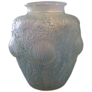R. Lalique Opalescent Glass Domremy Chardons Vase Circa 1926 with Cyan Green Patina