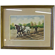 Watercolor Painting of a Farmer Plowing with Draft Horses