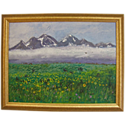 REDUCED Mountains and Blooming Meadow Impasto Impressionist Oil on Canvas