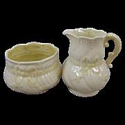 Belleek Irish Porcelain Ribbon Pattern Creamer & Sugar Set