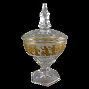 Cristalleries Val St. Lambert Charles Albert Sweetmeat Compote with Danse de Flore Gilt Enamel