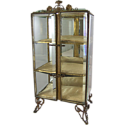 Antique Continental Ormolu & Beveled Glass Casket Miniature Vitrine Display Cabinet
