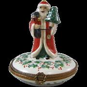 Limoges France Porcelain Box Christmas Decoration Peint Main Santa Claus