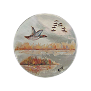 Mother of Pearl Button Hand Painted with Lake Scene of Wild Geese Flying