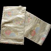 Vintage Fans & Flowers & Butterflies Silk Mix Japanese Obi