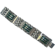 Mexican Art Deco Sterling Silver 'Grape' & Green Stones Bracelet Bangle 30s
