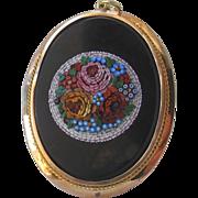 HUGE Micro Mosaic Micromosaic Flowers Pendant 18ct Gold Antique Italian Victorian Grand Tour