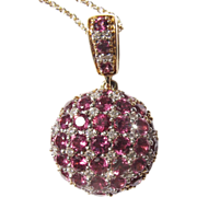 14 ct Gold diamond and Almandine Garnet pendant