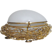 Antique 'Palais Royale' Ormolu White Opaline Glass Egg in a Nest French Gilt