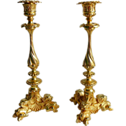 French Palais Royale Gilt Bronze Ormolu Candlesticks Sticks Pair Antique