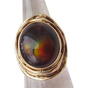 Fire Agate & 9 Ct Gold Estate Vintage Ring Unisex Mens
