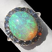Estate Fiery Deep Greeny Blue Opal Sapphire & 14 ct Gold Ring