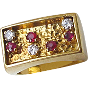 Mans Ladies 18ct Gold Diamond and Ruby Estate Ring  Unisex