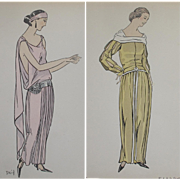 GENUINE 2 x Art Deco Fashion Plates from Gazette du Bon Ton 1922 Croquis Mounted