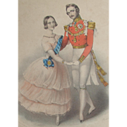 SOLD Queen Victorian & Prince Albert Dancing Hand Coloured Colored Lithograph c. 1840s