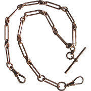 Antique 9ct Rose Gold Necklace Fob Chain Watch Victorian English
