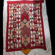 HUGE 6 by 4 feet Tribal Patchwork Bridal Blanket Eastern Europe Near East Wallhanging