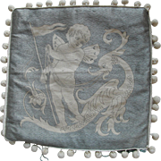 Cupid Cherub Hand Embroidered 1920s  Cushion Cover Pillow Top