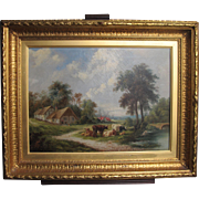 Antique English School Oil on Canvas of Farm Cattle Countryside Pastoral Victorian School