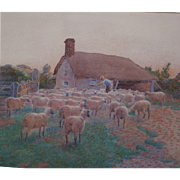 Antique English Watercolour Watercolor of Sheep at Sunset by listed Artist Edith Brinton (fl.