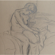SOLD Antique Female Nude 1848 Pencil on Paper Life Drawing