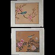 Pair mid 20th Century Chinese Paintings Birds Flowers