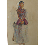 Antique Watercolor of a Lady in Tibetan Costume by much listed artist Walter Duncan Watercolou