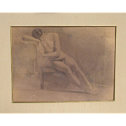 Antique Study of a Male Nude Pencil on Paper in the Classical Style 19th century