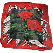 Vintage French Silk Designer Scarf Trapical Flowers Balenciaga
