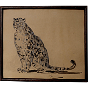 1920s Pencil & Watercolour  of a Leopard Big Cat Panther on Paper