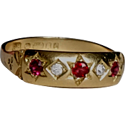Vintage Estate Diamond Ruby & 18ct Gold Ring Gypsy Unisex