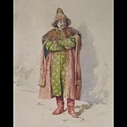 Antique Watercolour Watercolor of a Russian Nobleman by de la P Riviera