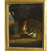 Antique Dutch School 19th Century Oil on Board Hens Cockerel Poultry Farm Hen Chicken