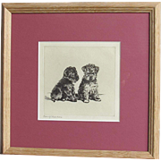 Lucy Dawson (1867-1954) 'Confidences' Dog Dogs Puppy Puppies Original Etching