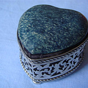Antique Shagreen/Silver Heart-shaped Jewellery Box