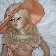"""Blossom Boudoir Doll Peach Ruffled Organdy 30"""""""