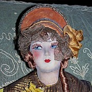 "30"" French Silk Face Red Haired Boudoir Doll"