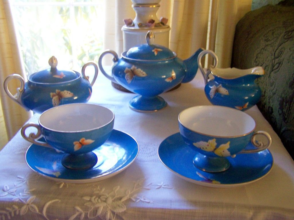 Vintage Hand Painted Blue Nippon Tea Set With Butterflies