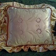 Satin Peach Embroidered Boudoir Pillows