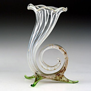 c.1930s Lampwork Miniature Footed Cornucopia Glass Vase, Bimini or Lauscha